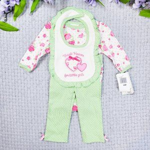 Baby Gear girl green & pink floral rose 3pc set